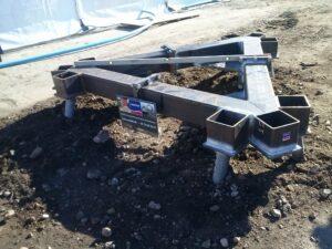 Stålramme til telemast færdigmonteret og klar til montering af telemasten