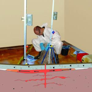 Billedet viser opretning af gulv med Uretek metoden