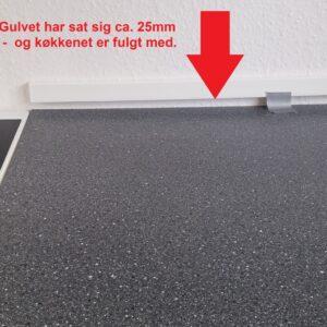 Køkken sunket med gulvet