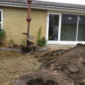 Boret fundament fra Uretek tæt på eksisterende fundament
